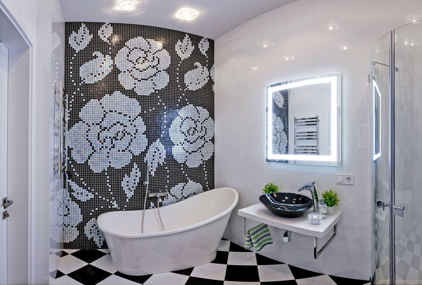 Дизайн ванной комнаты в черно-белых тонах: секреты интерьера
