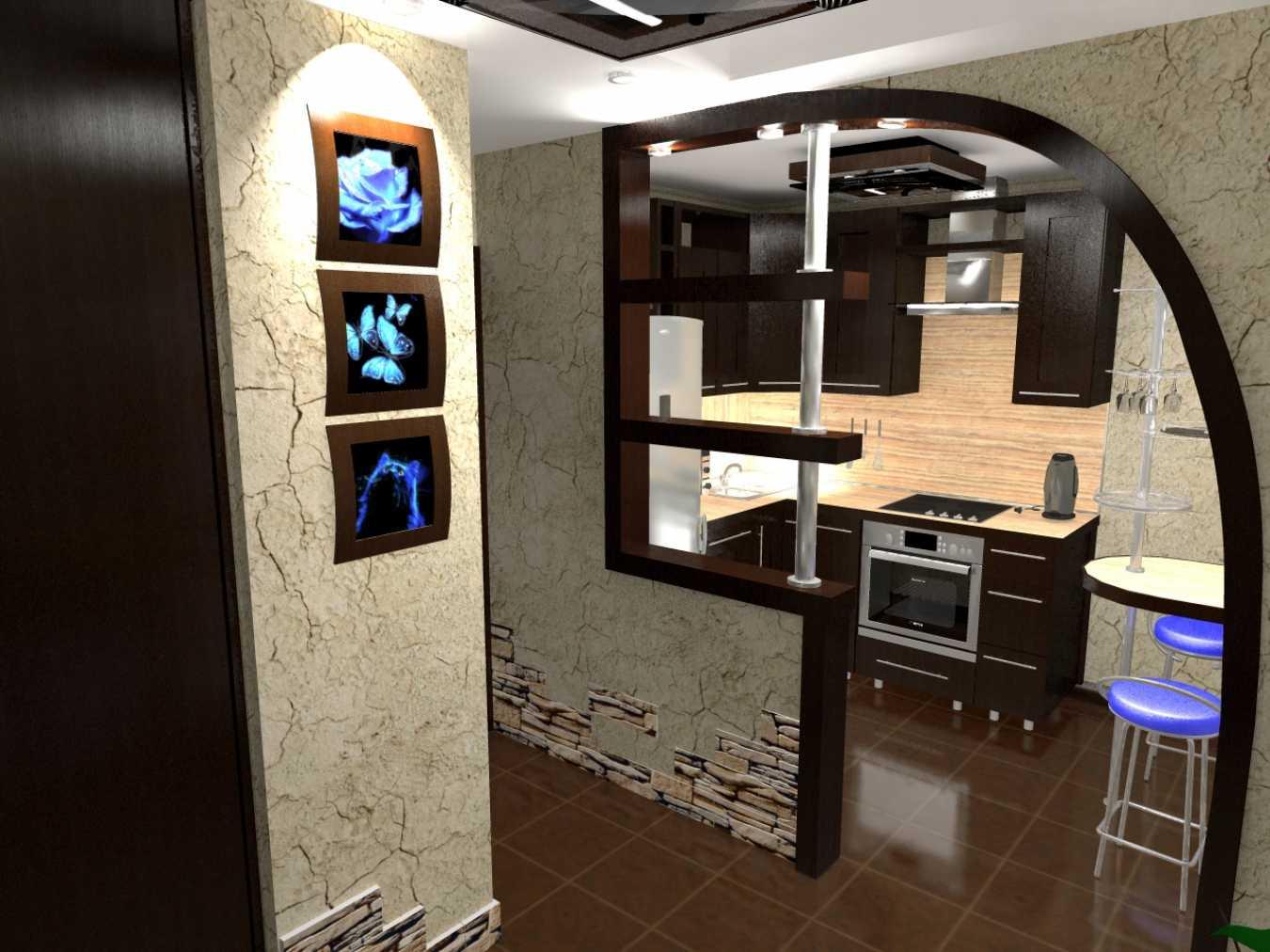 Дизайн кухни, совмещенной с прихожей