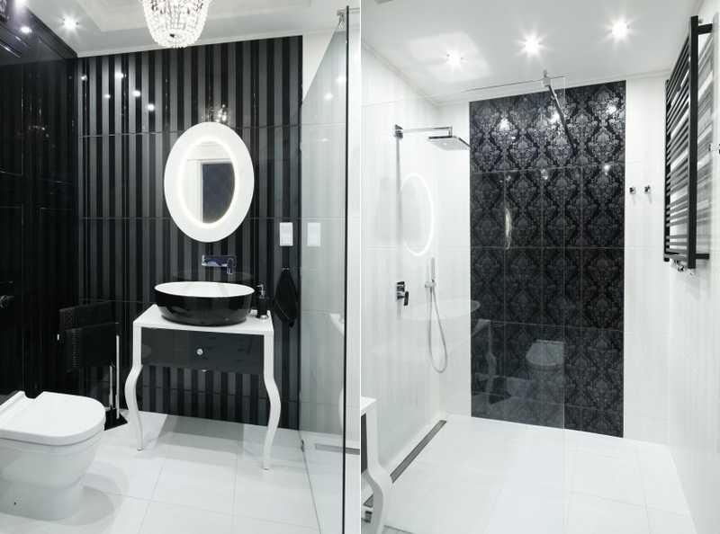 Как оформить дизайн черно-белой ванной комнаты, чтобы получилось стильно и не скучно