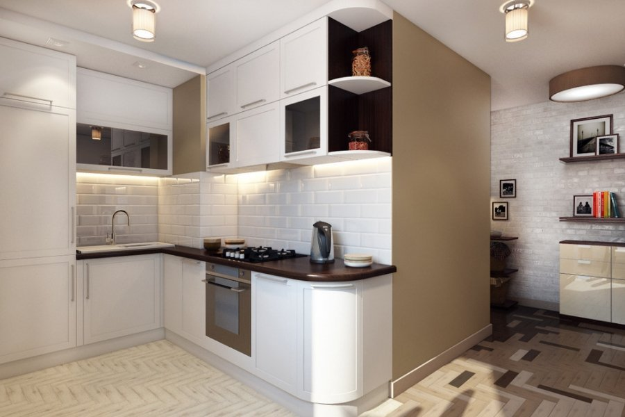 Кухня в коридоре: современные идеи дизайна интерьера на фото